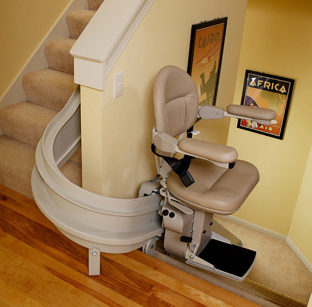 bruno custom curved stairway stairchair cre2110 riverside Ca.